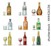 alcohol bottles decorative... | Shutterstock .eps vector #444426136