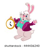 rabbit with pocket watch...   Shutterstock .eps vector #444436240