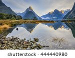 first light on mitre peak and... | Shutterstock . vector #444440980