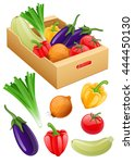organic vegan vegetables set of ... | Shutterstock .eps vector #444450130
