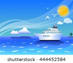 sea landscape with cruise ship... | Shutterstock .eps vector #444452584