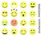 set of emotional yellow face on ... | Shutterstock .eps vector #444453406