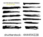 grunge ink brush stroke set.... | Shutterstock .eps vector #444454228