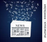 newspaper with flying letters.... | Shutterstock .eps vector #444456364