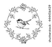 vintage round frame with birds... | Shutterstock . vector #444456439