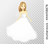 the girl in a wedding dress on... | Shutterstock .eps vector #444458878