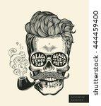 skull. hipster skull silhouette ... | Shutterstock .eps vector #444459400