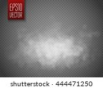 White cloud or smoke isolated on transparent background. Vector illustration