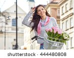 woman wearing a spring skirt... | Shutterstock . vector #444480808