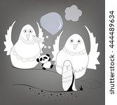 bird and panda | Shutterstock .eps vector #444489634