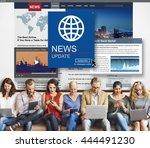 news update journalism headline ... | Shutterstock . vector #444491230