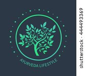 vector tree logo. ayurvedic... | Shutterstock .eps vector #444493369