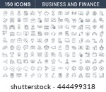 set vector line icons in flat... | Shutterstock .eps vector #444499318
