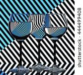 glasses on the background... | Shutterstock . vector #444499408