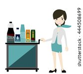 air hostess serve snack and... | Shutterstock .eps vector #444508699
