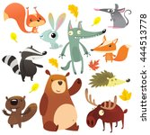 Cartoon forest animal characters. Wild cartoon cute animals collections vector. Big set of cartoon forest animals flat vector illustration.  Squirrel, mouse, badger, wolf, fox, beaver, bear, moose | Shutterstock vector #444513778