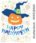 halloween pumpkin in hat ... | Shutterstock .eps vector #444518464