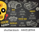 mexican menu placemat food... | Shutterstock .eps vector #444518944