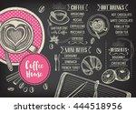 coffee menu placemat food... | Shutterstock .eps vector #444518956