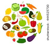 fruits and vegetables icons.... | Shutterstock .eps vector #444525730