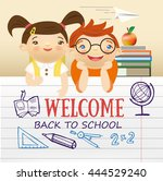 back to school colorful text... | Shutterstock .eps vector #444529240