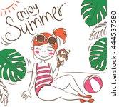 happy young girl on beach. hand ... | Shutterstock .eps vector #444537580