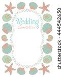 wedding invitation card. sea... | Shutterstock .eps vector #444542650