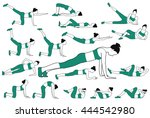 black silhouette of girls doing ... | Shutterstock .eps vector #444542980