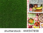 picnic at the park on the grass ... | Shutterstock . vector #444547858