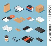 Isometric Stationery Vector Se...