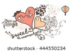 couple love shape heart with... | Shutterstock .eps vector #444550234