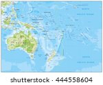 relief map of oceania. names ... | Shutterstock .eps vector #444558604