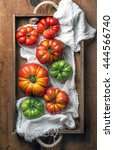 colorful heirloom tomatoes in... | Shutterstock . vector #444566740