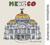 mexico famous landmarks palace... | Shutterstock .eps vector #444568546