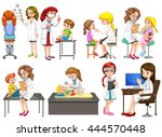 doctors and patient at clinic... | Shutterstock .eps vector #444570448