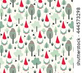 seamless pattern with gnomes | Shutterstock .eps vector #444573298