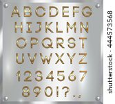 vector gold coated alphabet... | Shutterstock .eps vector #444573568