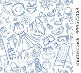 summer vacation doodles fashion ...   Shutterstock .eps vector #444575134