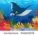 funny stingray cartoon with... | Shutterstock .eps vector #444602878