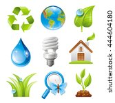 Ecological Set With Green Icon...
