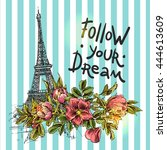 poster follow your dream.... | Shutterstock .eps vector #444613609
