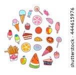 food patches set  colorful... | Shutterstock .eps vector #444615976