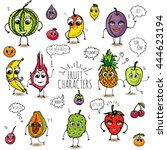 funny hand drawn fruit... | Shutterstock .eps vector #444623194