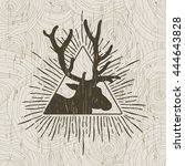 abstract triangle with deer and ... | Shutterstock .eps vector #444643828