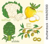set of vegetables mix vector... | Shutterstock .eps vector #444650500