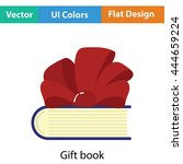 book with ribbon bow icon. flat ...