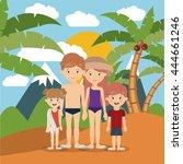 summer vacations in family... | Shutterstock .eps vector #444661246