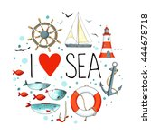 collection of nautical elements ... | Shutterstock .eps vector #444678718