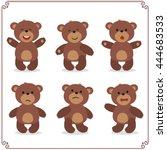 set of cartoon teddy bear in... | Shutterstock .eps vector #444683533