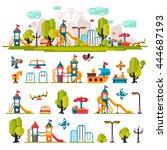 children playground. swings ... | Shutterstock .eps vector #444687193